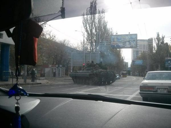 Locals are reporting massive buildup of Russian armor inside the city of Donetsk Ukraine near the airport