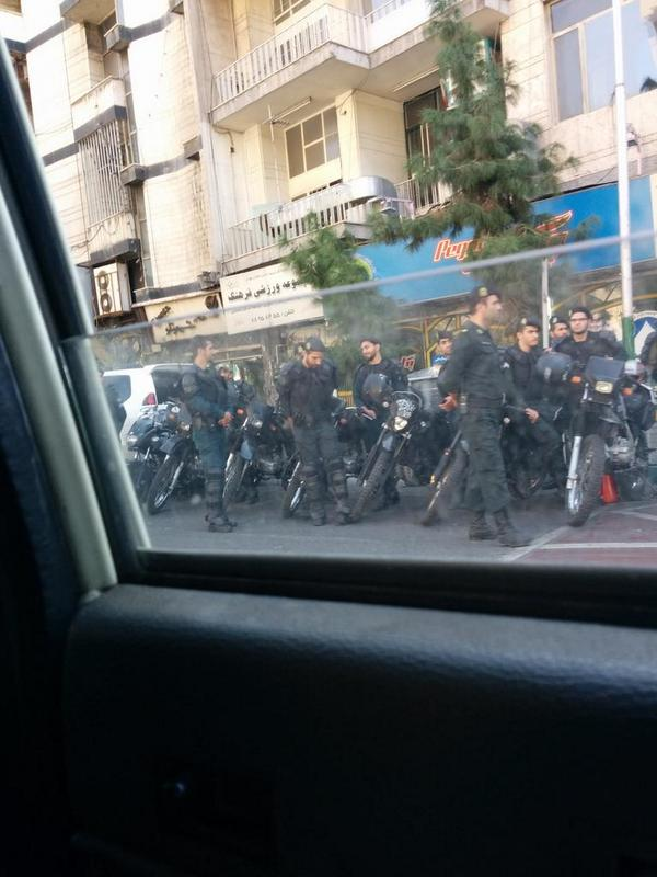Tough security in Fatemi Sq., dwntwn Tehran, near interior ministry ahead of march agnst recent acid attacks on women