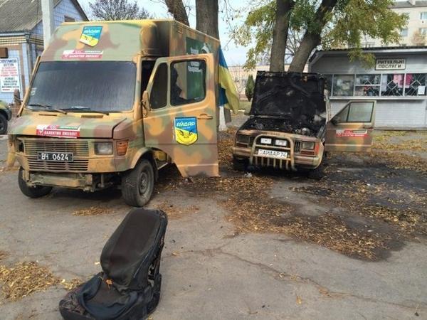 In Kagarlyk, Kyiv region saboteurs burnt cars belonging to members of Aidar Battalion