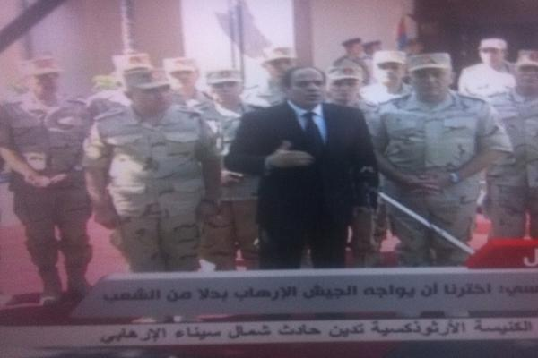 An angry Egypt president Sisi with his military men says Jihadist attacks in Sinai are an existential  war