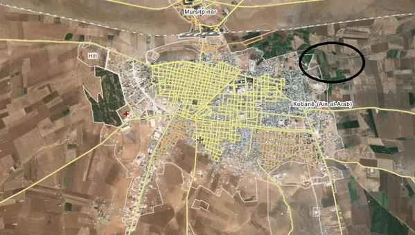 The area of the airstrikes while ago near industrial zone (circled) east Kobane