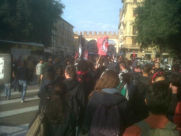Rally of antifa on Piazza Bra Verona
