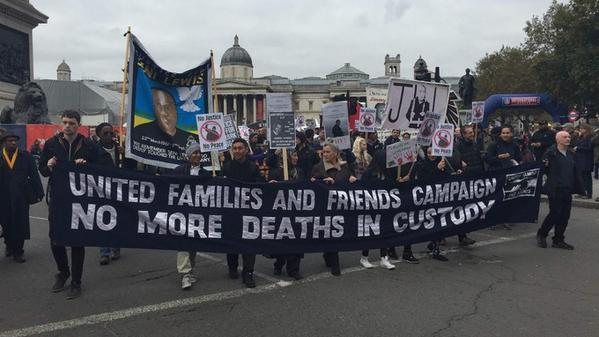 Around 300 people have marched to Downing Street to protest over deaths in police custody