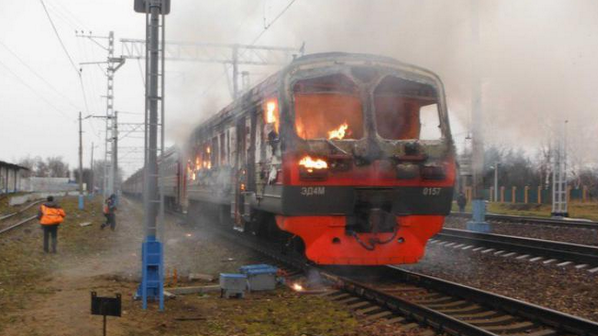 The train was burnt At the Kyivsky station in Moscow