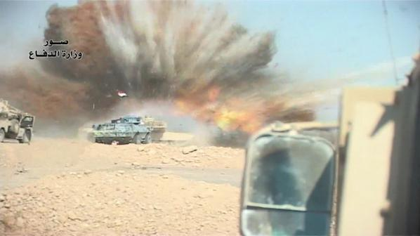 Iraqi MoD video shows multiple SVBIED attacks on the advancing ISF column north of Tikrit: