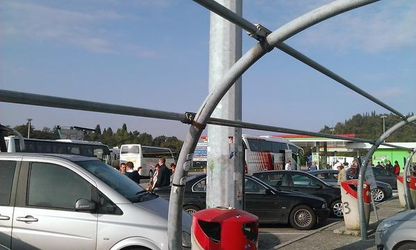 On the gas stations near Verona. Ukranians going to vote in Milan. Sing La La La