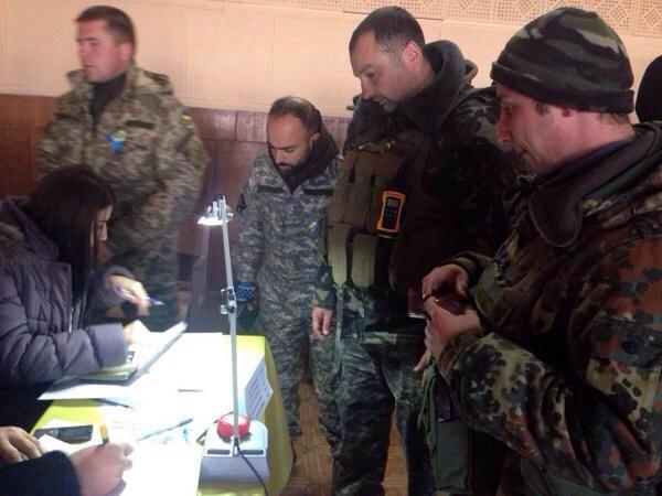 ATO soldiers voting in Ukraine