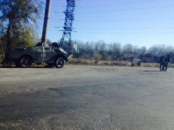 Ukraine forces on streets of Krasnoarmiisk. People say quiet here despite war next door, but no water for 4 months
