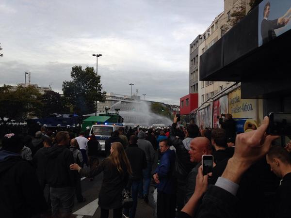 At least 1 seriously injured in clashes. Now Police  uses water cannon against hooligans in Cologne