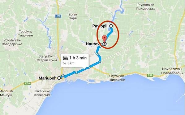 Ukrainian positions outside Mariupol around Pavlopil-Hnutove reportedly under fire from mortars, tanks.
