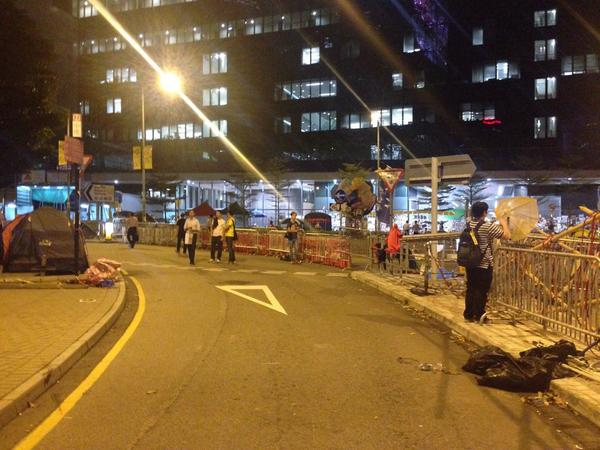 The barricades around Citic Tower are rearranged, the path ready to be opened.