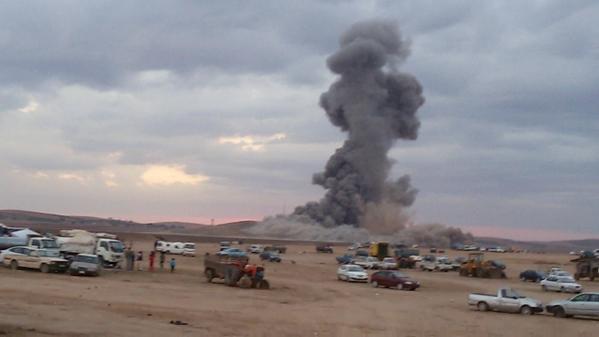 Big explosion after coalition jets strike on ISIS positions west Kobane