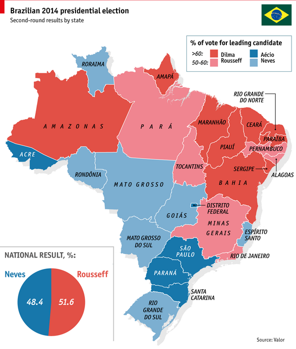 The blue-state, red-state divide that shaped Brazil's election