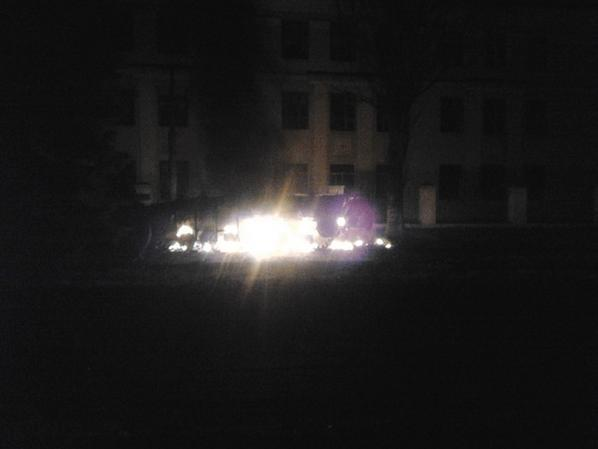 Krasnogorivka, Donetsk region. Infantry fighting vehicle burns near school number 2