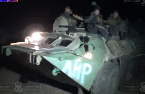 Ukrainian troops of the 80th Brigade leave Roadblock 32 by night. Now under Russian occupation.