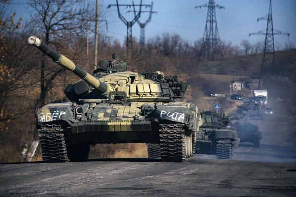 A column of Russian tanks not far from Krasnyi Luch, Luhansk region