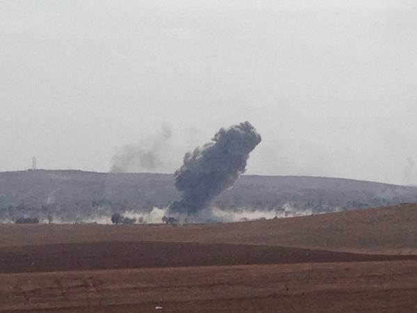 The fight is intense in Kobani, seems ISIS have moved. Further in the city, air strikes pounded ISIS fire position