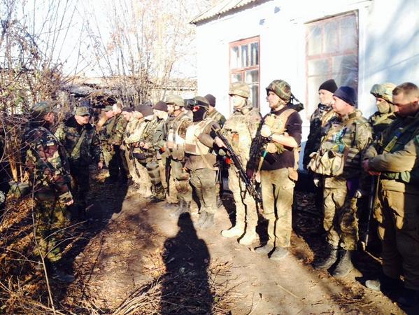 In Pisky near Donetsk airport, battalion of Organization of Ukrainian Nationalists. Includes locals, Russian speakers