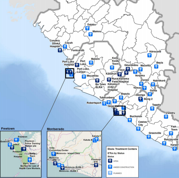 WHO map shows how Ebola response being scaled up. >30 new treatment centers under construction, 3x existing number.