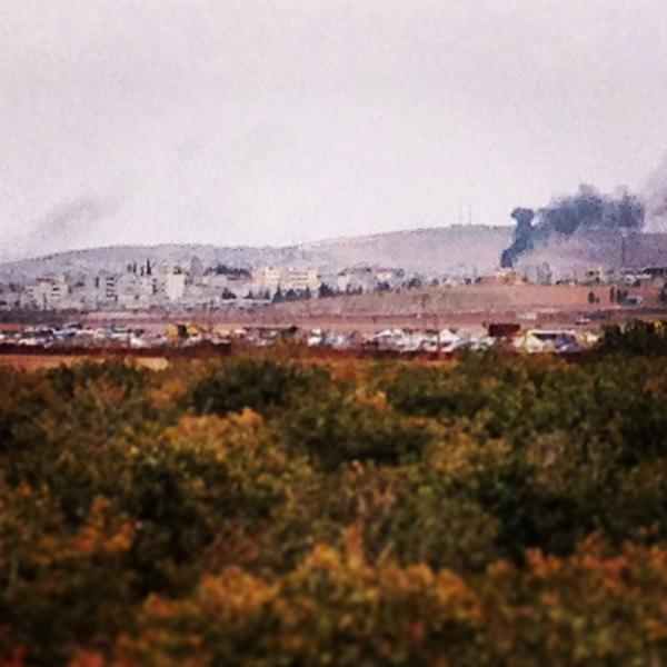 Kobane, Syria. Smoke is right on front lines between ISIL and Kurdish/FSA forces