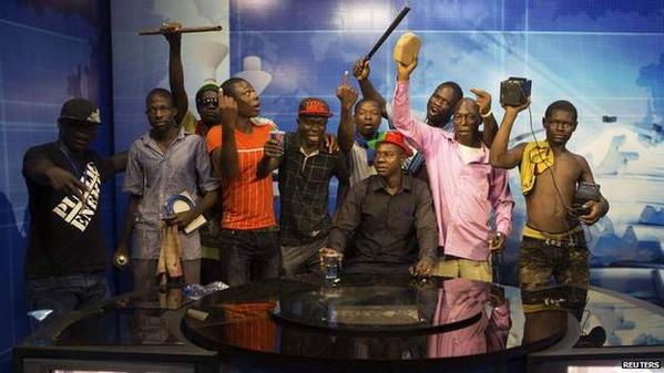 Protesters seize the state run TV station of BurkinaFaso. Broadcasting cut shortly after this aired