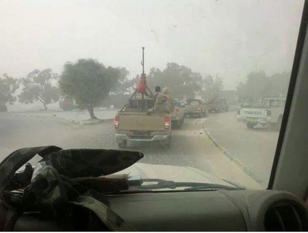 Libyan Army ground troops moving East in Benghazi Libya