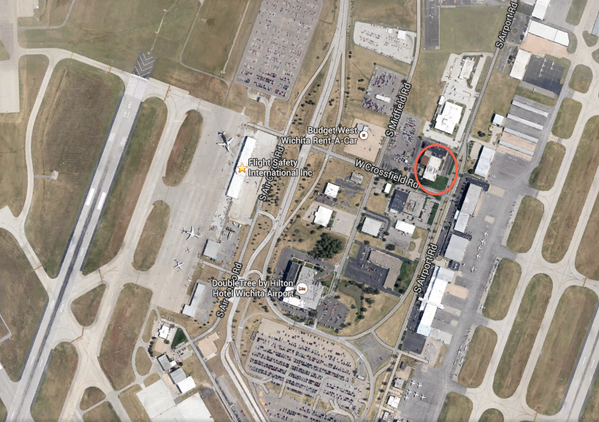 Flight Safety building affected in Wichita is on east side of airport.
