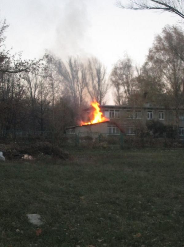 Fire in the kinder garden Alyonushka in Makiivka