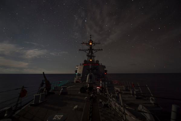 In the Mediterranean -- Arleigh Burke-class guided-missile destroyer USS Ross