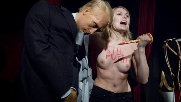 Femen wishes special Halloween for Vlad Putin at Paris wax museum. Russia