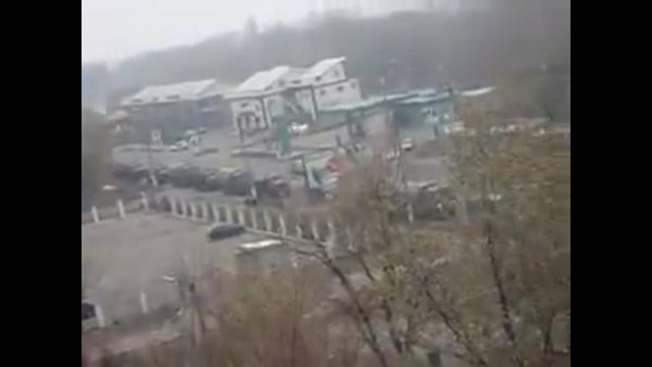 Russian army column in Makiivka
