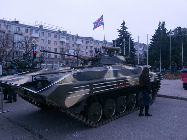 Military vehicles in Luhansk