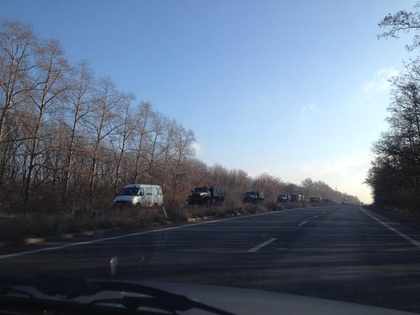 8 trucks with boxes of weapons/ammo head toward Donetsk on Election Day
