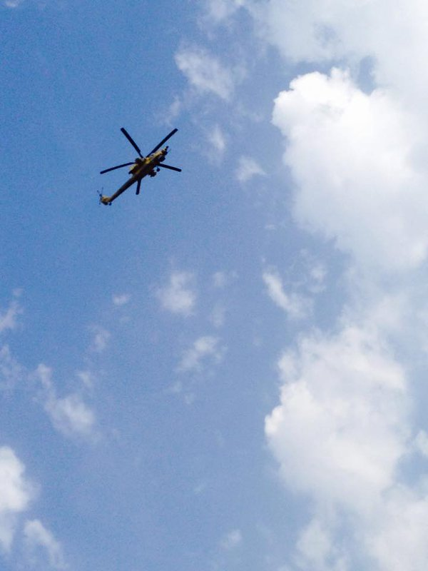 IQAF Mi-28 hovering over baghdad yesterday.