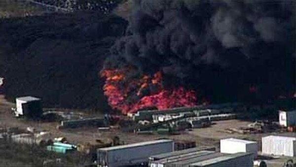 Tire plant on fire in southwest Louisville Kentucky.