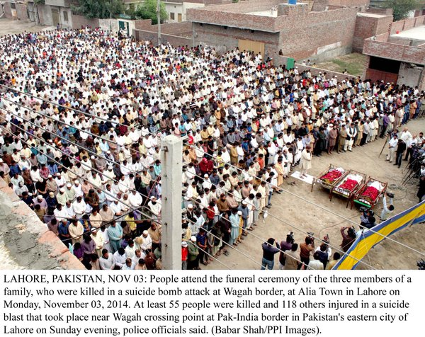 Funeral ceremony in Samundri and Lahore of killed in yesterday's attack