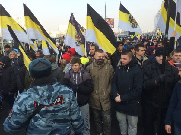 Russian nationalists on the march in Moscow