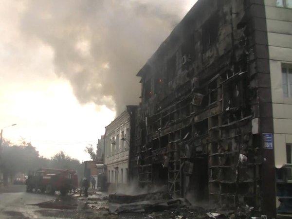 Office block burnt in Kharkiv