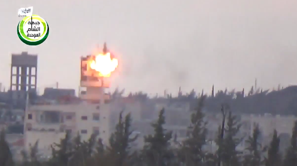 Syrian rebels hit an Assad regime firing position in Shekih_Muskin with the Kornet