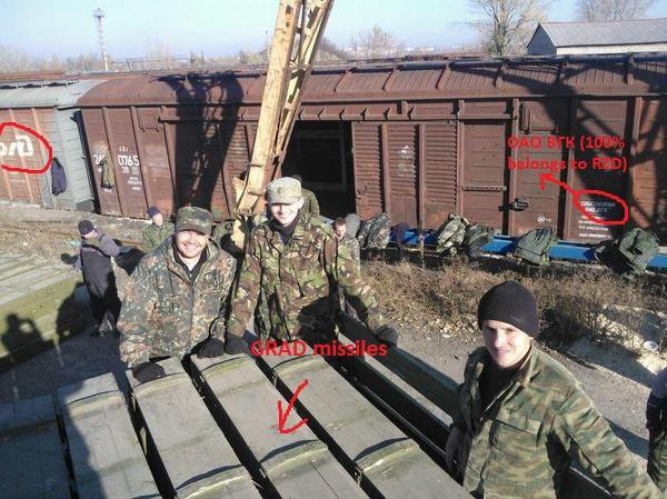 Russia send's Grad missiles to Donetsk by railway.