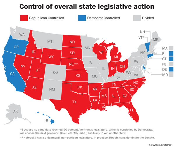 GOP controls legislatures & gov'ship in 24 states, Dems in just 7