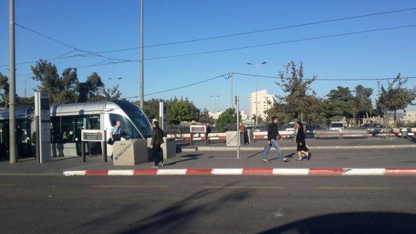 Israeli police place cement barrier at the light rail stations around Jerusalem