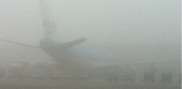 Because of the fog in Amsterdam flights to, from or via Schiphol may be disrupted