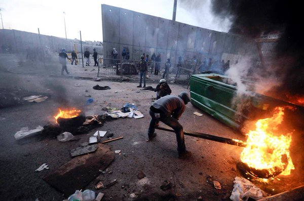 WestBank: At Qalandia checkpoint clashes between Palestinians and Israeli Forces earlier today.
