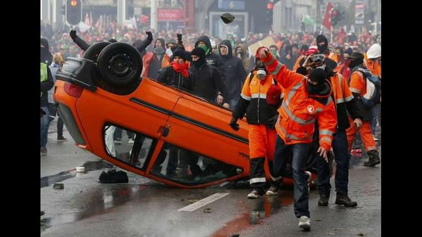 Protests in Brussels, Belgium