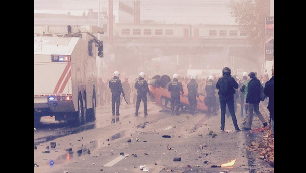 Clashes with police in Brussels