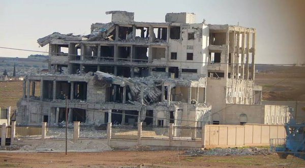 A former hospital ISIS fighters were holed up in struck by coalition airstrikes in Kobane: