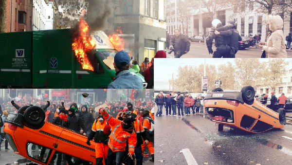 100k Protest Austerity in Brussels, Police Repression Sparks Riot