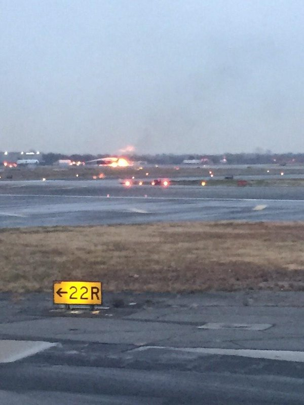 Fire seen on JFK runway, could be training exercise