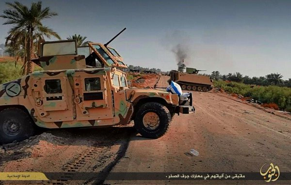 IS ambushed a joint ISF/Badr mixed vehicle column in Jurf as-Sakhr and retained control of the site of the attack: